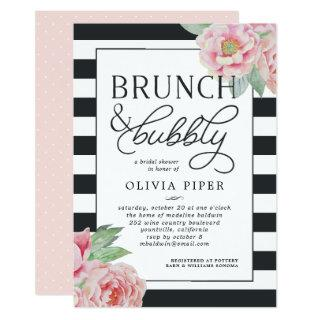 Antique Peony Brunch & Bubbly Bridal Shower Invite