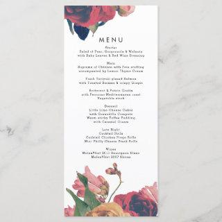 Antique Roses Vintage Boho Wedding Menu