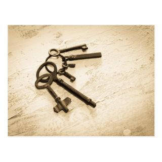 Antique Skeleton Keys on Ring Postcard