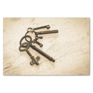 Antique Skeleton Keys on Ring Tissue Paper