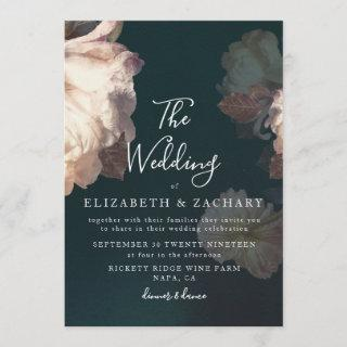 Antique Vintage Romantic Floral Wedding Invitations