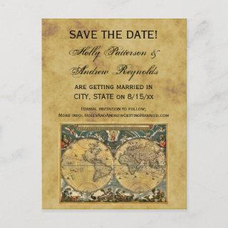 Antique World Map, Distressed BG Save the Date Announcement Postcard
