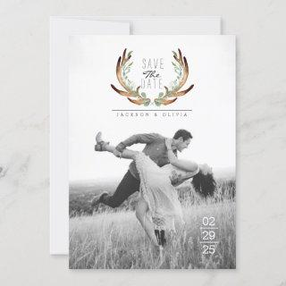 Antler & Vine Watercolor Save The Date Photo