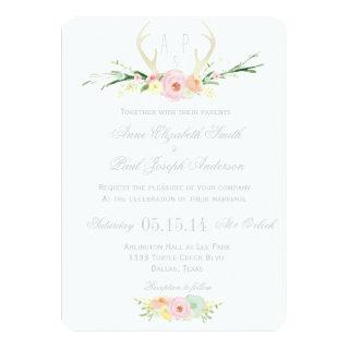 Antlers floral wedding Invitations
