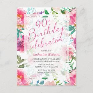 Any Age Tropical Floral Pink Peony 90th Birthday  Postcard