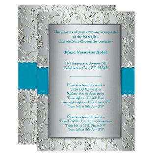Any Color Silver Shown with Turquoise Blue Wedding Invitations