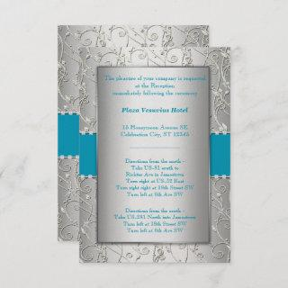 Any Color Silver Shown with Turquoise Blue Wedding Invitation