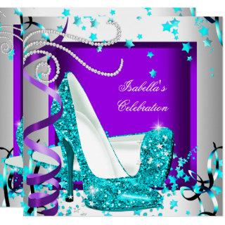 Any Occasion Party Glitter Teal Purple High Heels Invitations