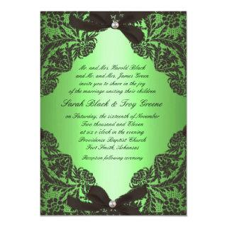 Apple Green and Black Lace wedding invitation