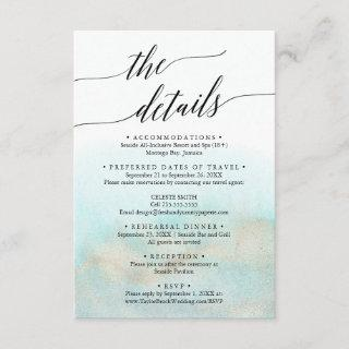 Aqua and Gold Destination Wedding Travel Details Enclosure Card