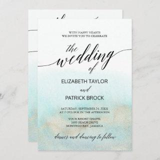 Aqua and Gold Watercolor Beach All In One Wedding
