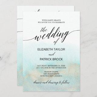 Aqua and Gold Watercolor Beach All In One Wedding Invitations