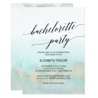 Aqua and Gold Watercolor Beach Bachelorette Party Invitation
