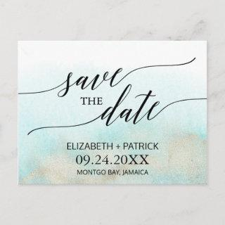 Aqua and Gold Watercolor Beach Save the Date Announcement Postcard