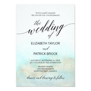 Aqua and Gold Watercolor Beach The Wedding Of Invitations