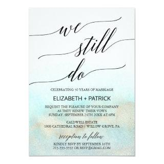 Aqua and Gold Watercolor Beach Vow Renewal Invitations