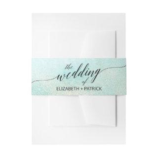 Aqua and Gold Watercolor Beach Wedding Belly Band