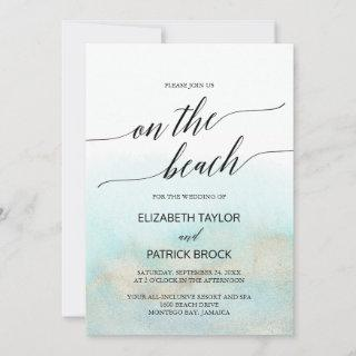 Aqua and Gold Watercolor On The Beach Wedding Invitations
