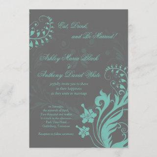 Aqua and Grey Vintage Floral Wedding Invitations