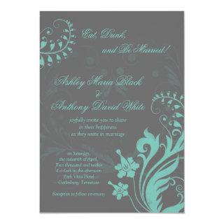 Aqua and Grey Vintage Floral Wedding Invitation