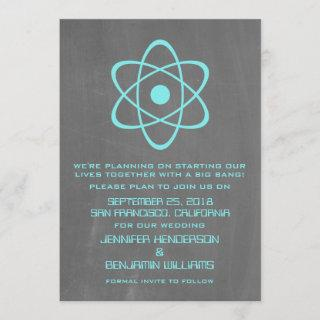 Aqua Atomic Chalkboard Save the Date Invite