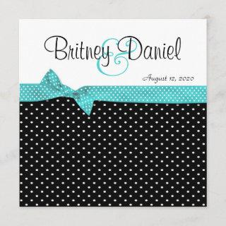 Aqua Black & White Polka Dot Wedding Invitations
