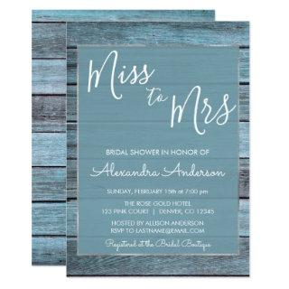 Aqua Blue Beach House Miss to Mrs Bridal Shower Invitation