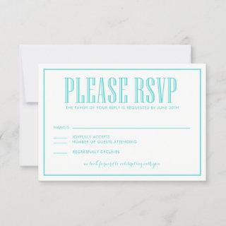 Aqua Blue Eat Drink and be Married Wedding RSVP Card
