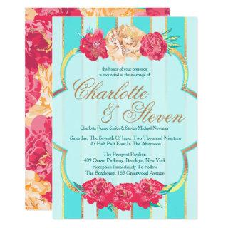 Aqua, Coral and Gold, Floral, Wedding Invitations