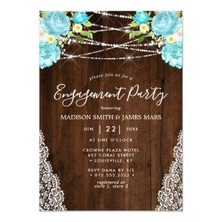 Aqua Mint Rustic String Lights Floral Engagement Invitation