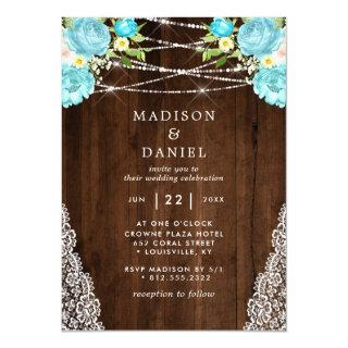 Aqua Mint Rustic Wood String Lights Floral Wedding Invitations