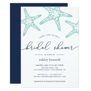 Aqua & Navy Starfish Bridal Shower Invitation