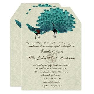 Aqua Peacocks You Choose Backgound Color Invitation