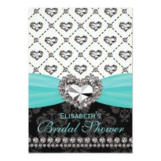 Aqua PRINTED Diamond Bridal Shower Invitations