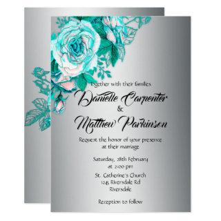 Aqua Roses and Silver Wedding Invitation
