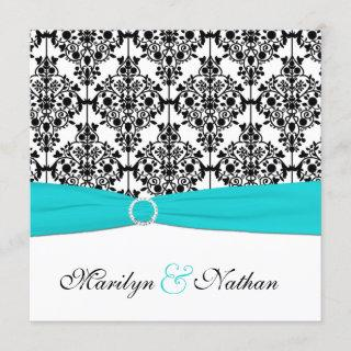 Aqua, White and Black Damask Wedding Invitation