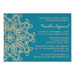 AQUAMARINE BLUE  and Gold Indian Bridal Shower Invitation
