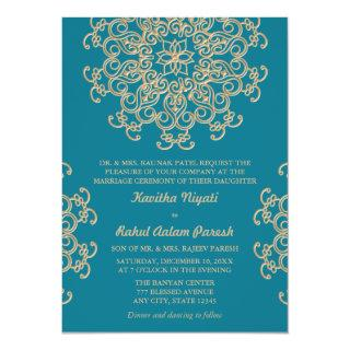 AQUAMARINE BLUE AND GOLD INDIAN STYLE WEDDING INVITATION