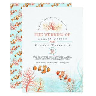 Aquatic wedding coral and clown fish watercolor Invitations