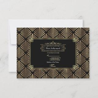 Art Deco Black 1920s Wedding RSVP