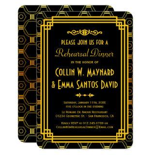 Art Deco Black and Gold Rehearsal Dinner Invitations