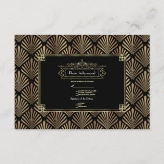 Art Deco Black Gatsby 1920s Wedding RSVP