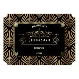 Art Deco Black Gatsby Will You Be My Groomsman Invitation