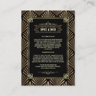 Art Deco Black Gold Gatsby 1920s Wedding Details Enclosure Card