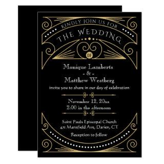 Art Deco Black & Gold Wedding Invitation