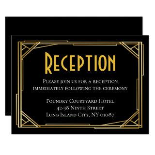 Art Deco Black Gold Wedding Reception Great Gatsby Invitations