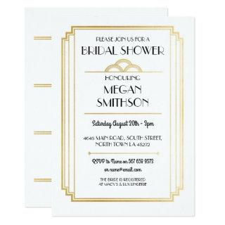 Art Deco Bridal Shower 1920's Gatsby Gold Invite