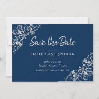 Art Deco Filigree | Silver Gray and Navy Blue Save The Date