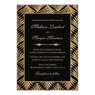 Art Deco Floral Black Gold Great Gatsby Wedding Invitations