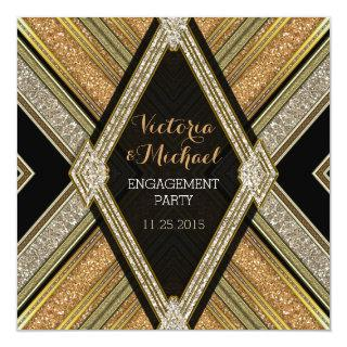 Art Deco Glamour Engagement Party Invitations
